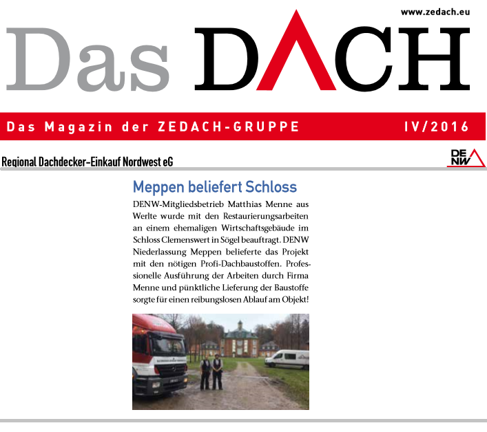 Restaurierung Clemenswerth, Dachdecker Menne